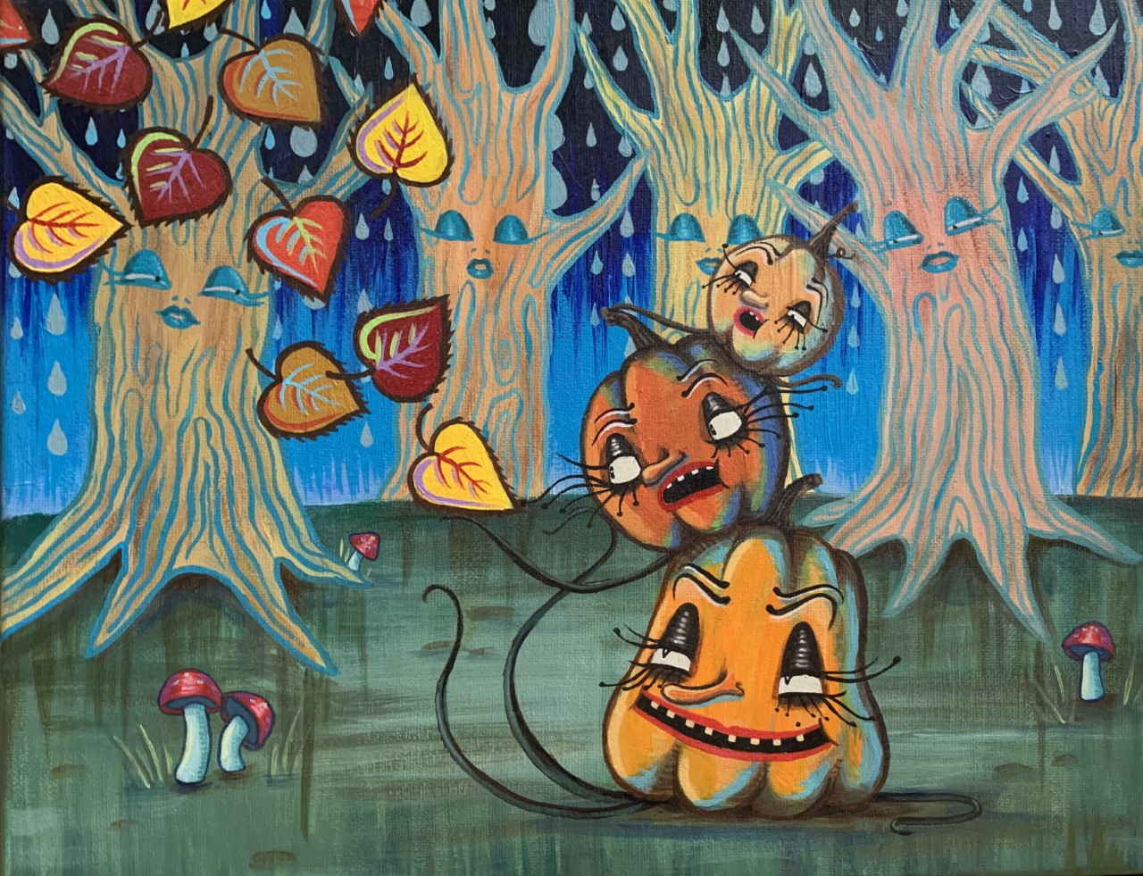Painting by Amanda Carella, whimsical pumpkins with faces are stacked on top of each other, in a forest of trees who also have faces